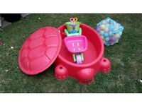 Little Tikes tortoise sand box, paddling pool or ball pit with accessories
