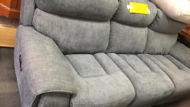 Fabric grey Electric reclining 3 seater sofa ex display £ 190