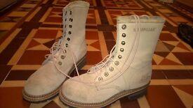 Caterpillar boots, cream suede, uk size 8