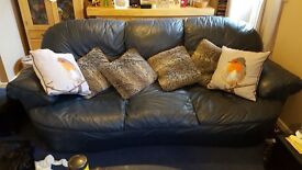 3 Seater Leather Sofa Navy Blue