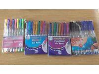 BRAND NEW Gel pens/ Scented pens/ Black and blue pens/ Metallic pens. Various packs.