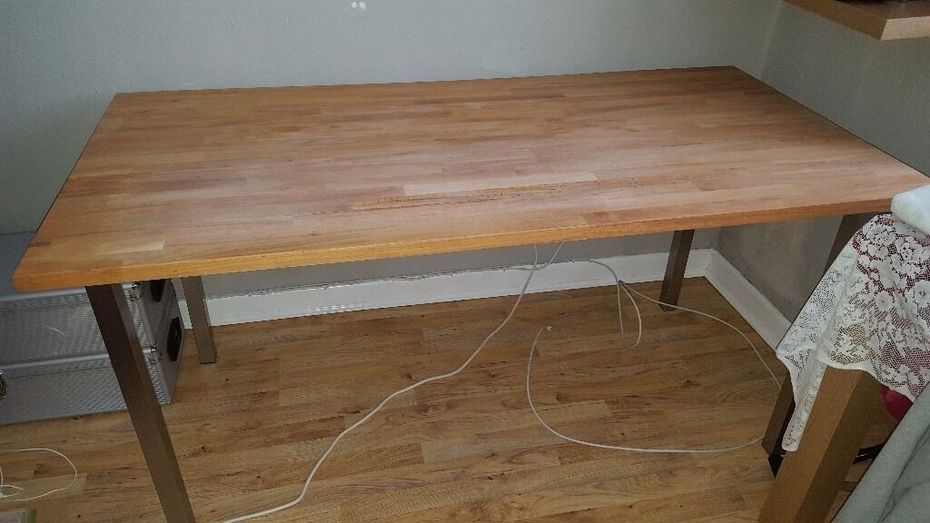 ikea gerton beech table top with 4 metal legs beech