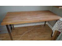 IKEA Gerton Beech Table Top With 4 Metal Legs, Beech, Solid Wood