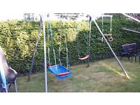 TP Double Swing Frame / Extension bar with Swing boat, 2 swing seats, twizzler, trapeze bar & rings