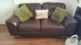 Brown Faux Leather Sofa & Chair Very Comfy £120 O.V.N.O Buyer To Collect