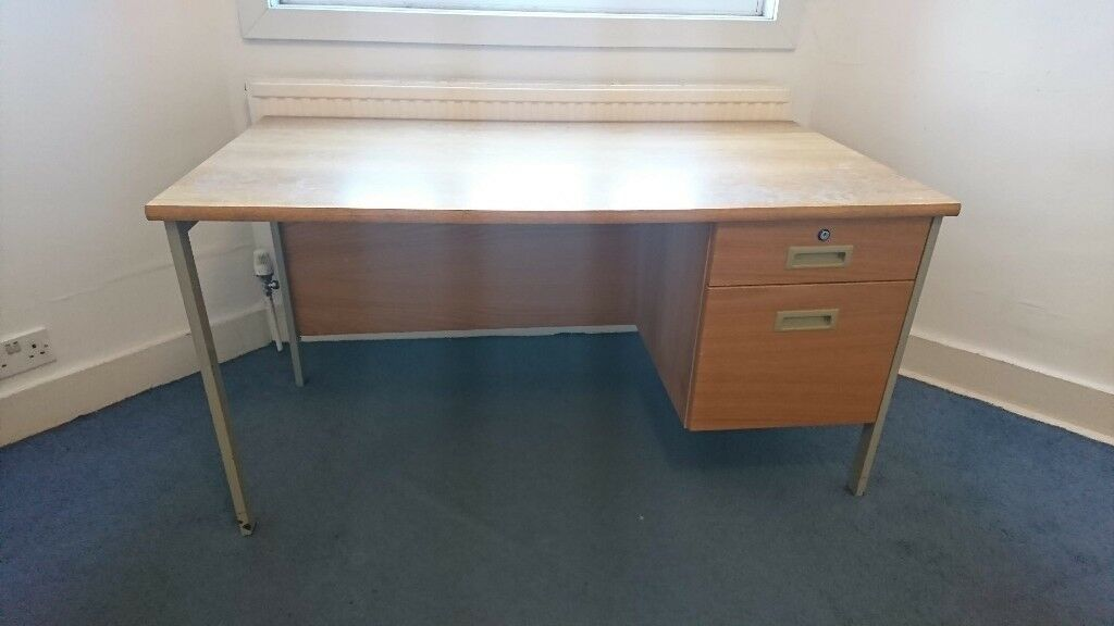 Wooden Writing Desk With Drawers Used Condition