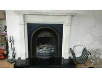 Marble fireplace and cast inset