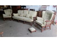 Ercol Floral Patterned Elm Framed 3 Seater Sofa, Twin Armchairs and Small Footstool