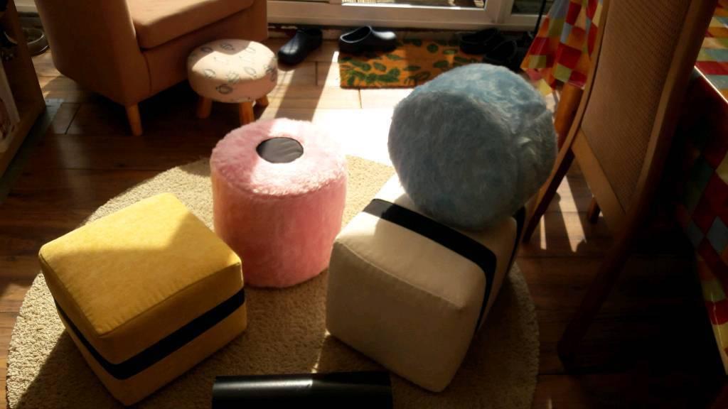 5 x Licorize allsorts footstools/cushions
