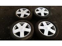 "Set of genuine 15"" ford alloys & good tyres & alloy wheel nuts - fiesta, focus, fusion, puma etc"