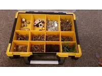 Storage box + screws, rawplugs, washers & olives