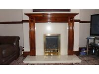 Gas Fire with Marble Hearth and Back & Wooden surround