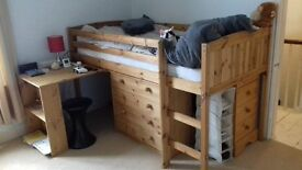 Cabin bed with pull out desk and under bed chest of drawers
