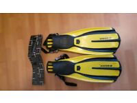 Mares Plana Avanti X-3 Diving Fins with spare strap - yellow