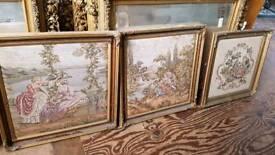 3 x Framed tapestry