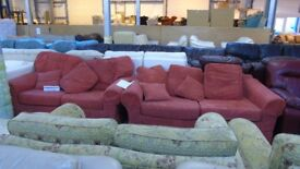 PRE OWNED 3 seater + 2 seater sofa in Red Fabric
