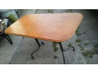 CARAVAN TABLE WITH WOODEN TOP AND METAL FRAME USED