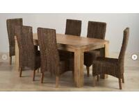 Oak Furniture Land 6ft table and 8 chairs