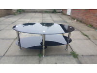 Black Glass Top 3 Tier Coffee Table Chrome legs For Sale £25.00