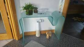 Turquoise Glass Curved Console Table