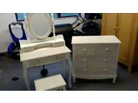 Chest of drawers, dressing table and vanity mirror with stool