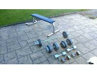 Weights 130kg and weight bench