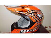 wulfsport kids youth junior motocross motox quad helmet in orange size medium