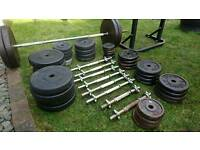 175kg Iron rubber Weight plates dumbells barbell