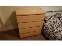Malm 4 draw chest of draws. Beechwood veneer, good condition. Collection only