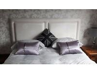 White / silver super kingsize padded headboard