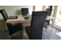 Marbel dining table 160cm and 4 highback black chairs excellent condition
