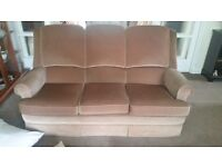 PARKER KNOLL 2x 3 seater sofas, recliner chair and footstool