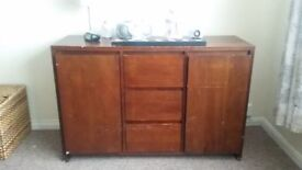 Wooden cabinet - 3 draws+ 2 cupboards