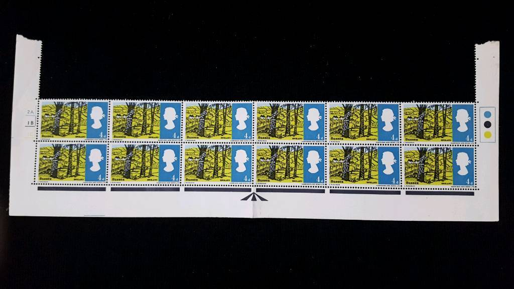 BLOCK OF 12 SUSSEX 4d STAMPS WITH TRAFFIC LIGHTS