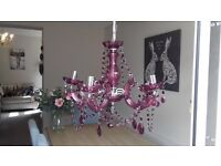 Blackcurrant/Purple 5 Light Chandelier with acrylic droplets
