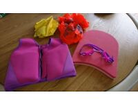 Girls swim vest, float, goggles and armbands