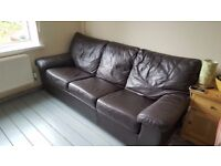 DFS Sofa Bed full leather (3 seats) with two chairs