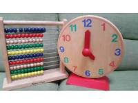 Melissa and Doug wooden abacus & clock