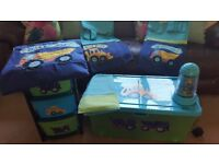 Little Digger Childrens Room Set with Toy Box Storage Curtains Single Duvet Set Bedside Lamp