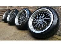 "18"" BBS LM Style Alloy Wheels with Tyres. BMW 5x120 removed from an E46 3 series. M3 E36 E90"