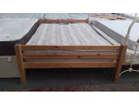 Pine double wooden bed frame with mattress