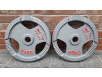 25KG CAST IRON TRI GRIP WEIGHT PLATES - 2 Inch holes