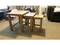 Oak furniture land nest of tables