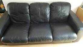 Black leather 3&2 seater
