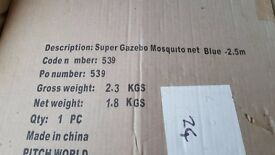 Super Gazebo Mosquito Net, color blue, 2.5 metres. New, unopened.