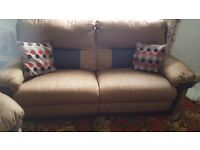 3 SEATER SOFA & CHAIR - As New - Leater inset panels