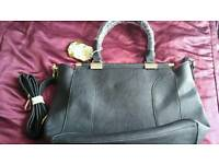Stunning black handbag with gold diamante and shoulder strap