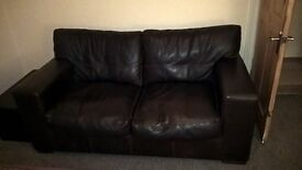 2 Seat Dark brown Leather sofa and matching arm Chair - £120 ono.
