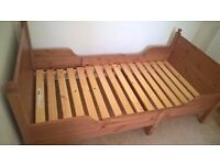 Extendable wooden IKEA bed for ages 3-7