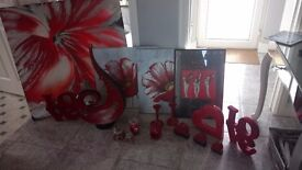 Job lot of red home accessories